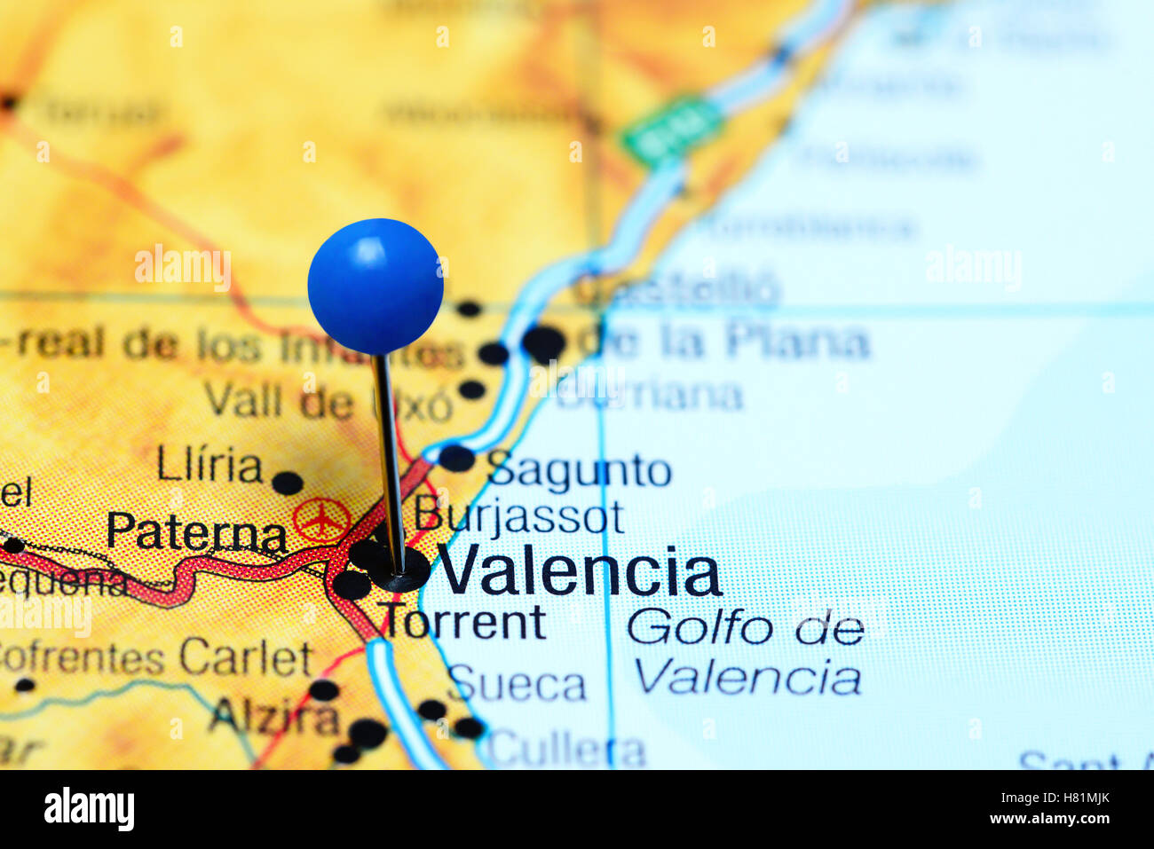 Map Of Spain Valencia.Valencia Pinned On A Map Of Spain Stock Photo 125427979 Alamy