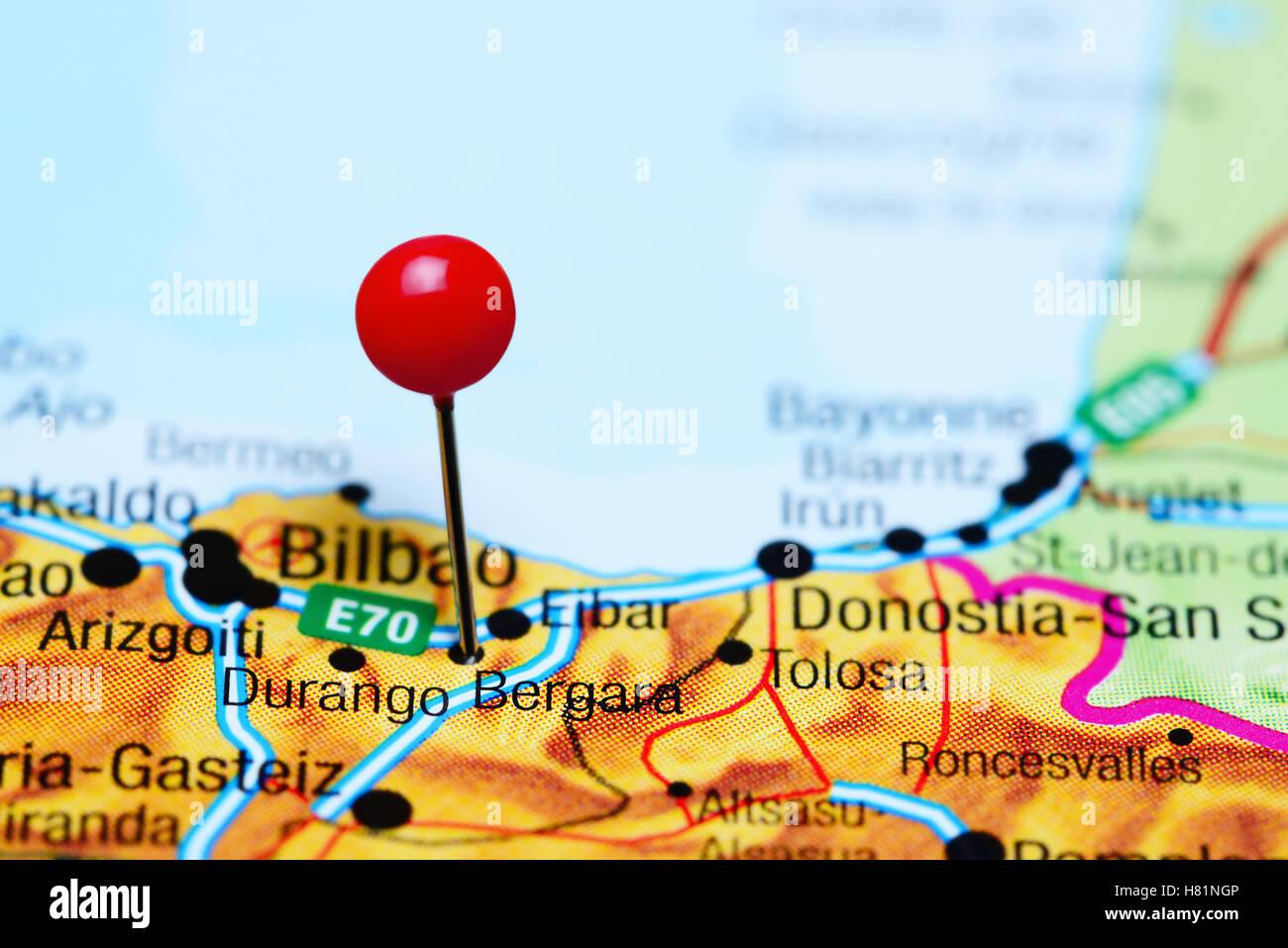 Map Of Spain Eibar.Bergara Pinned On A Map Of Spain Stock Photo 125428710 Alamy