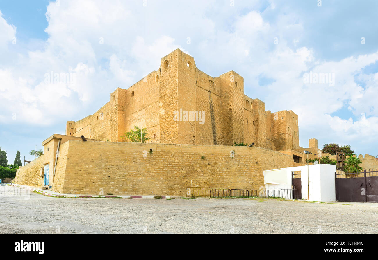 The huge stronghold on the hill in Sousse nowadays serves as archaeological museum, Tunisia. Stock Photo