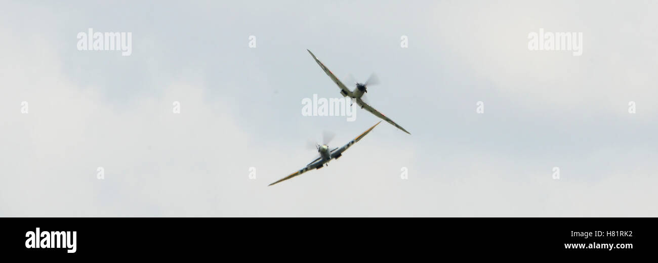 British iconic spitfires second world war fighters - Stock Image
