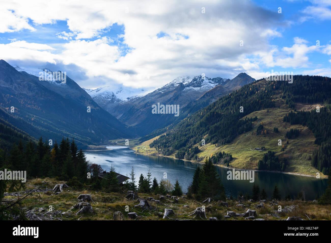 Krimml: alp alpine pasture, Zillertaler Alpen, Durlaßboden reservoir water power station, Pinzgau, Salzburg, - Stock Image