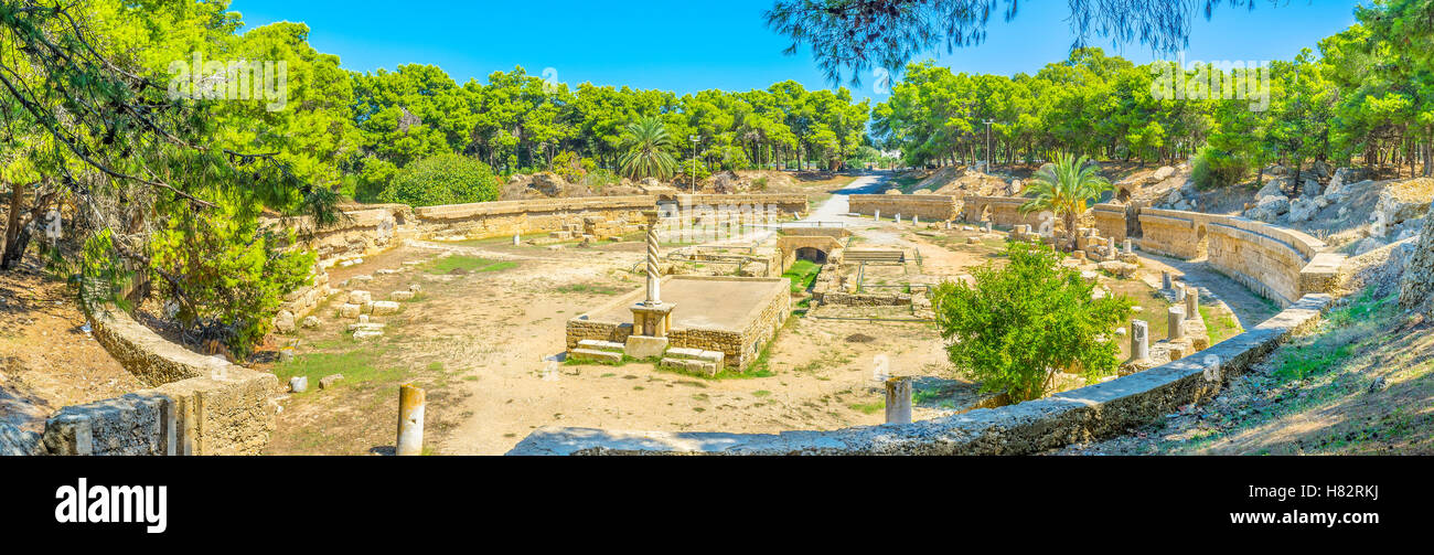 Nowadays Carthage is famous for its archaeological sites and museums, such as ancient amphitheatre, Tunisia. - Stock Image