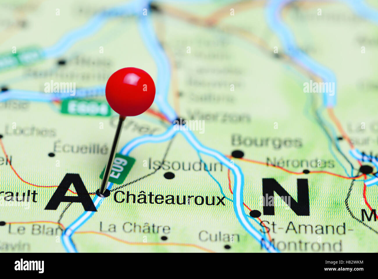 Chateauroux pinned on a map of France Stock Photo: 125453880   Alamy