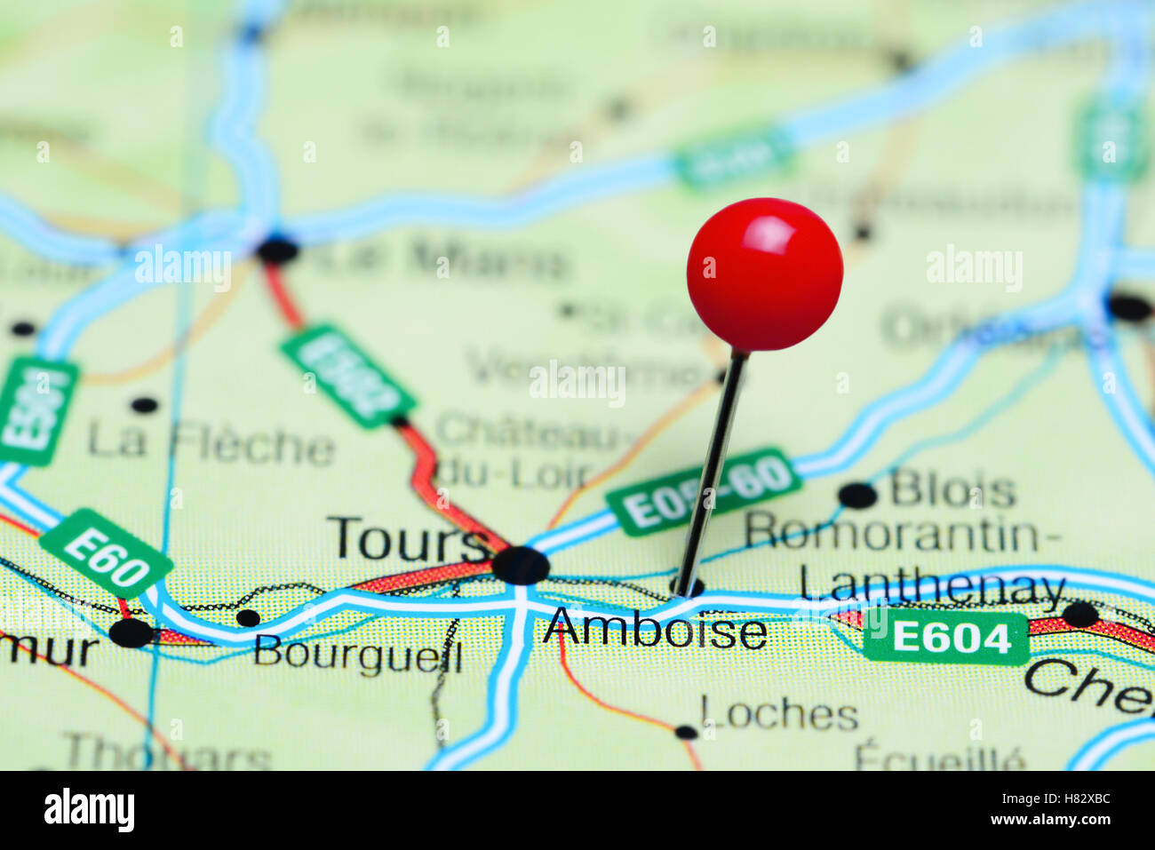 Amboise Pinned On A Map Of France Stock Photo 125454432 Alamy