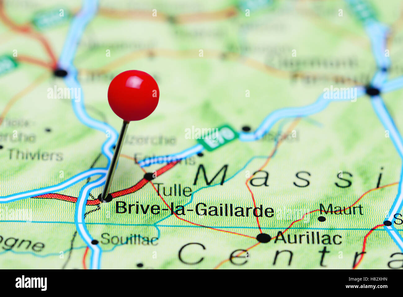 Brive France Map.Brive La Gaillarde Pinned On A Map Of France Stock Photo 125454609
