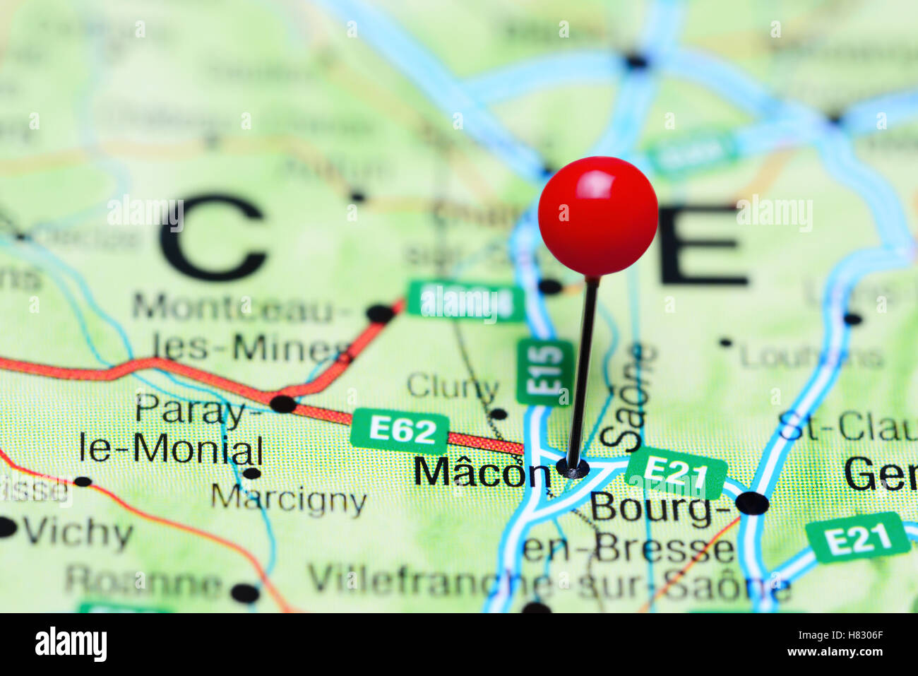 Macon France Map.Macon Pinned On A Map Of France Stock Photo 125455863 Alamy