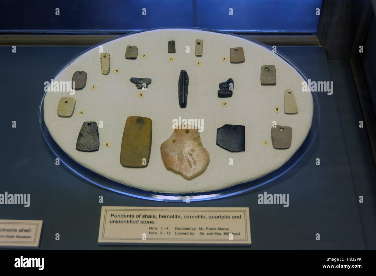 Colorado, Mesa Verde National Park, Chapin Mesa Archaeological Museum, Ancestral Puebloan beads and pendants - Stock Image