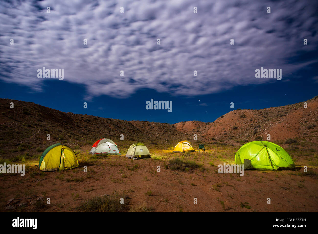 Tents at night lit from inside desert camping camp Capitol ...