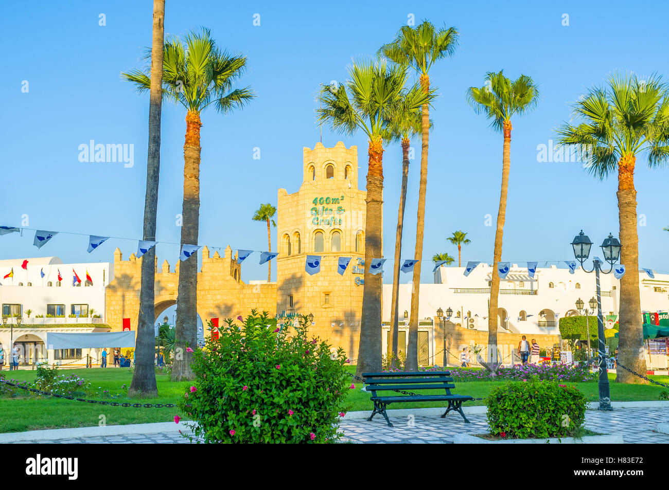 The Port Al Kantaoui is the place where tourists can relax on the seashore, urban promenade or park, Tunisia - Stock Image