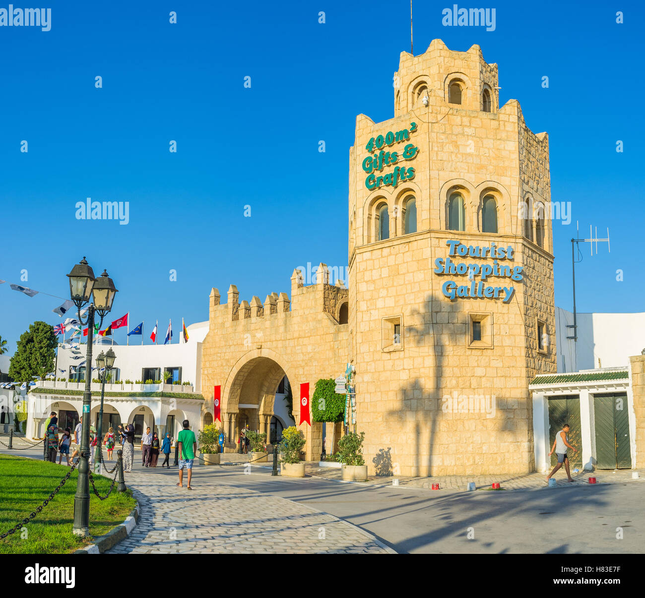The entrance to the popular shopping gallery, located in the port, Al Kantaoui, Tunisia - Stock Image