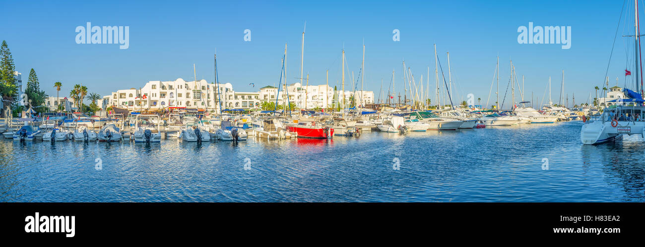The modern port is the best place to relax or take a trip along the coast, Al Cantaoui, Tunisia - Stock Image