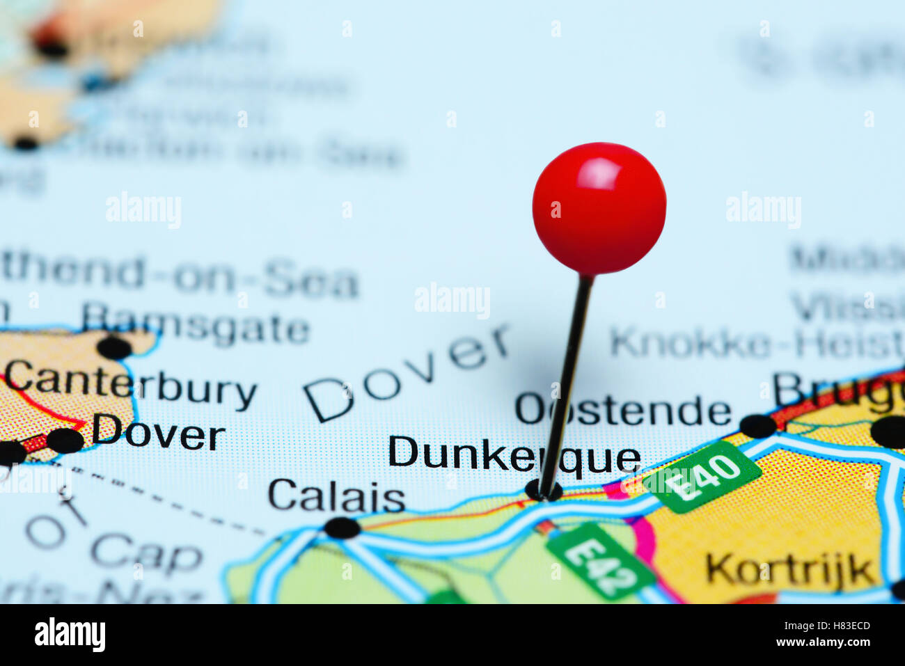 Map Of France Dunkirk.Dunkerque Pinned On A Map Of France Stock Photo 125467005 Alamy