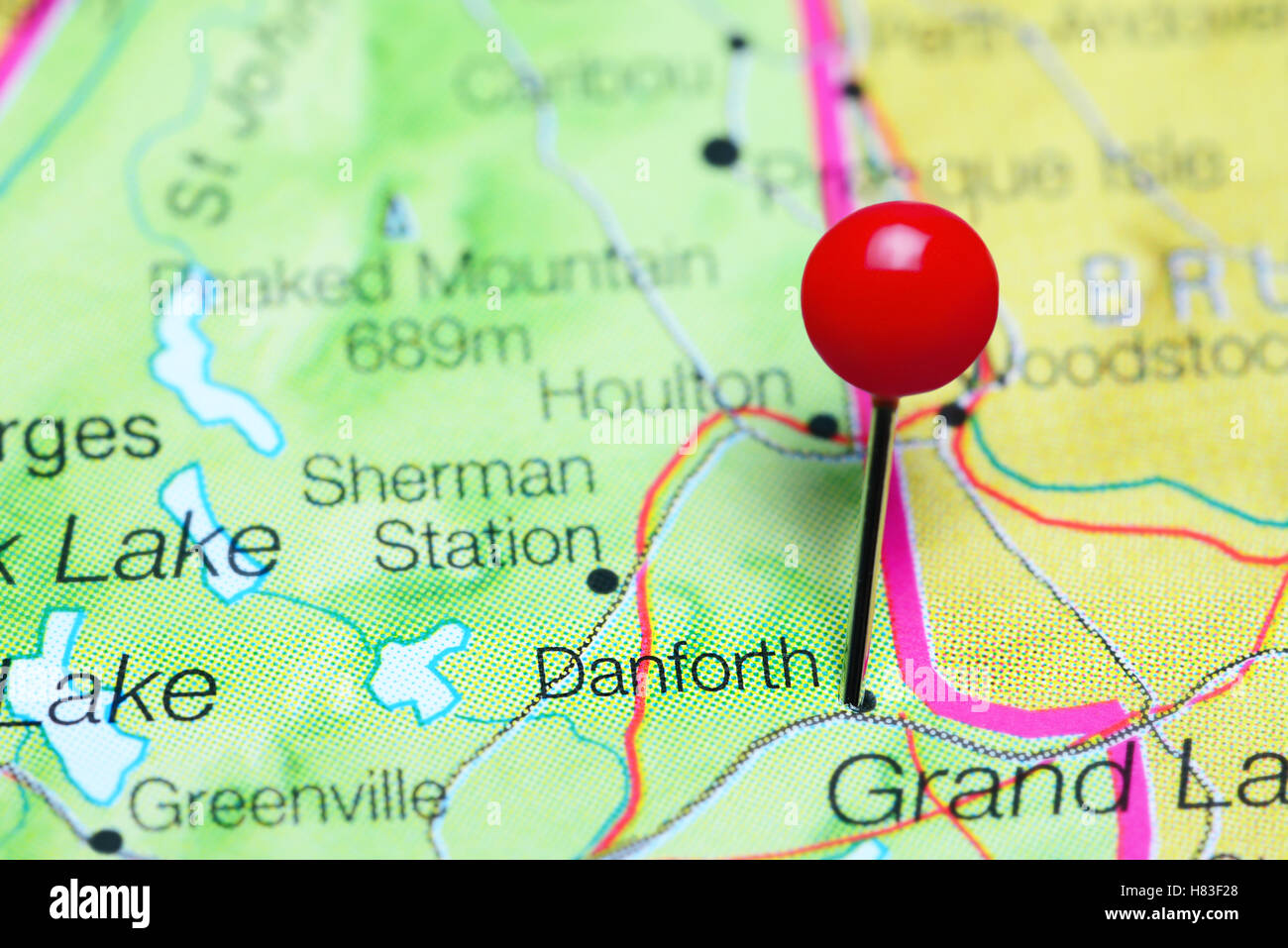 Danforth Maine Map.Danforth Pinned On A Map Of Maine Usa Stock Photo 125467504 Alamy