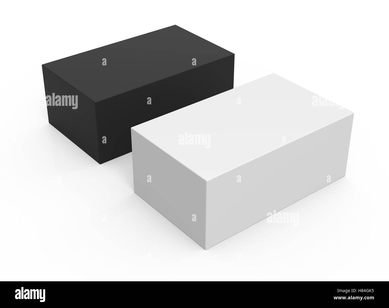 one white box and one black box packaging template 3d rendering