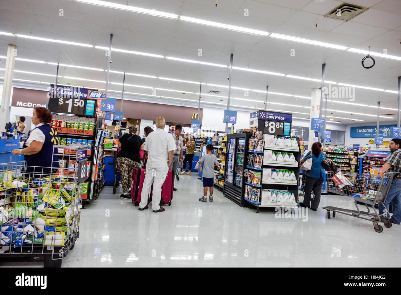 Miami Florida Walmart interior shopping checkout line queue Stock