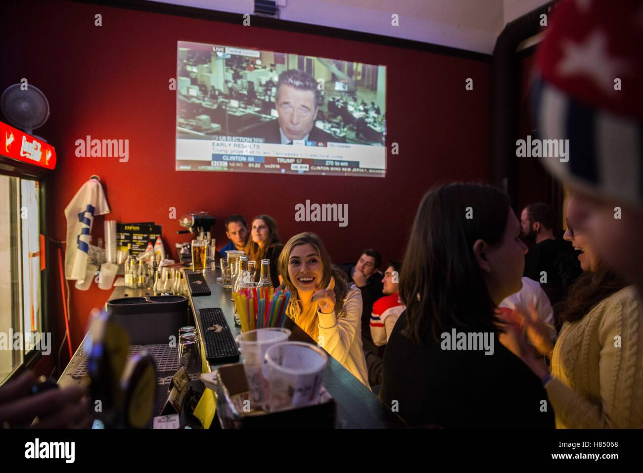 Prague, Czech Republic. 9th Nov, 2016. The Americans that lives in Czech Republic were following the US elections Stock Photo