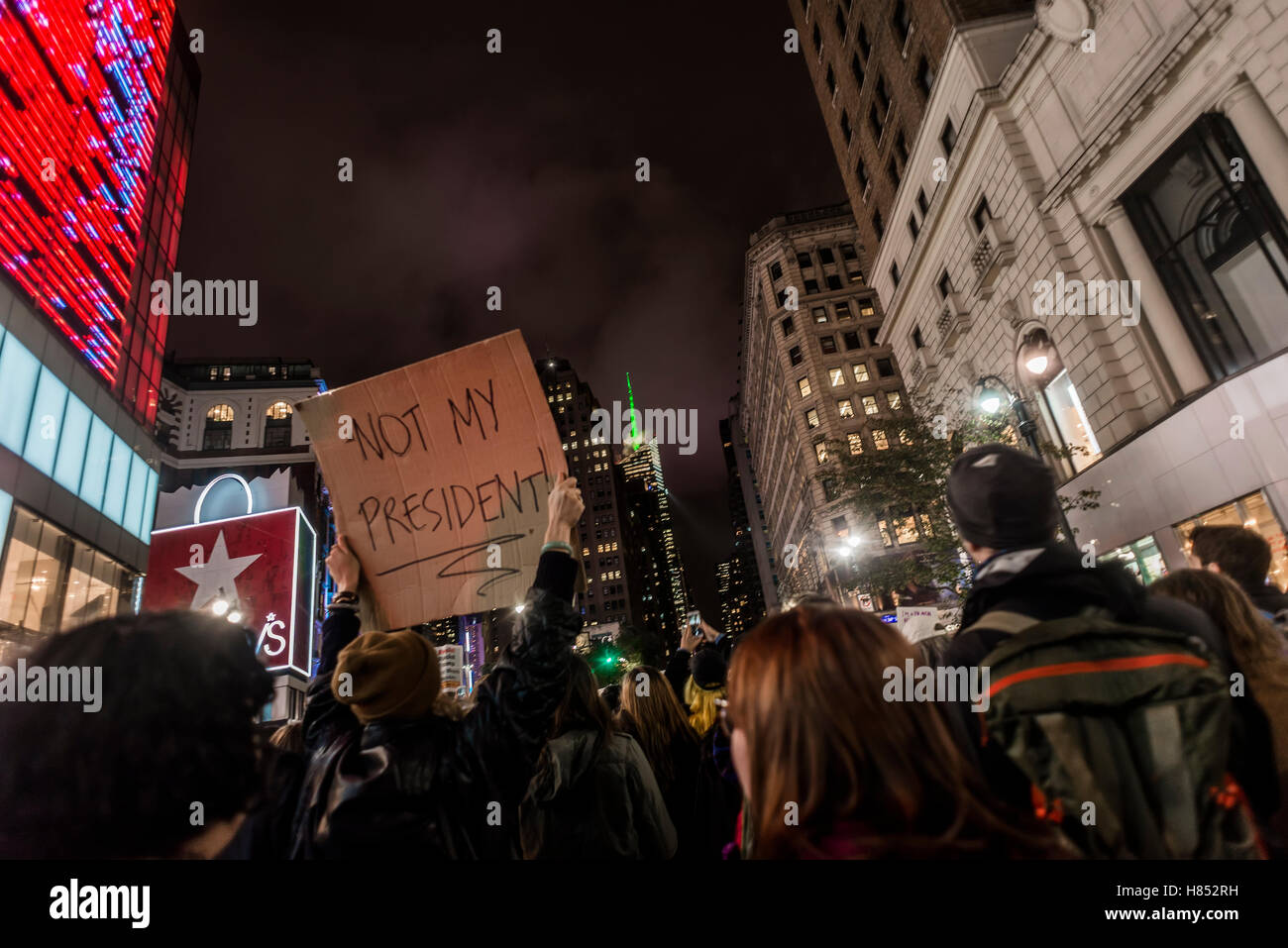 New York, USA - 9 November 2016 - One day after the United States Presidential Election 10,000 New Yorkers took Stock Photo
