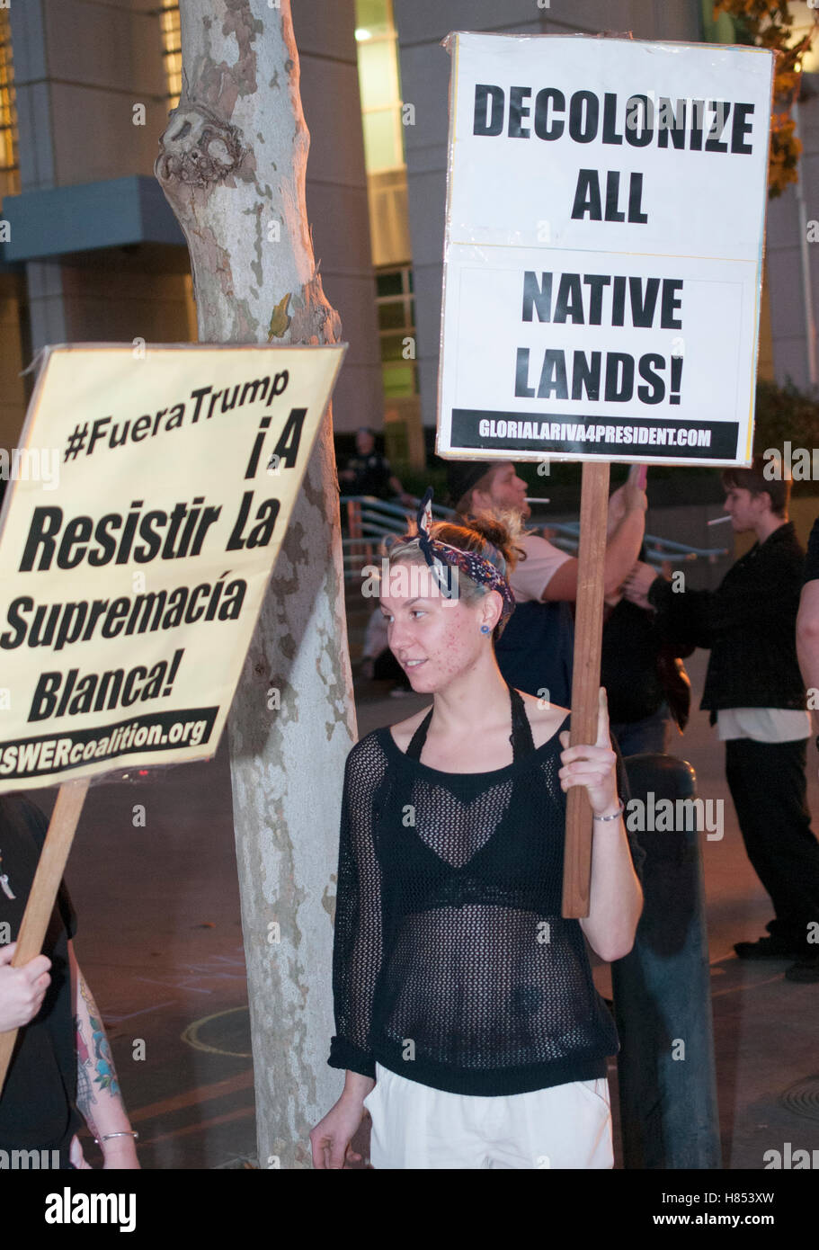 """An activist holds a sign reading """"Decolonize all native lands"""" at a protest against the 2016 election results. Credit: - Stock Image"""