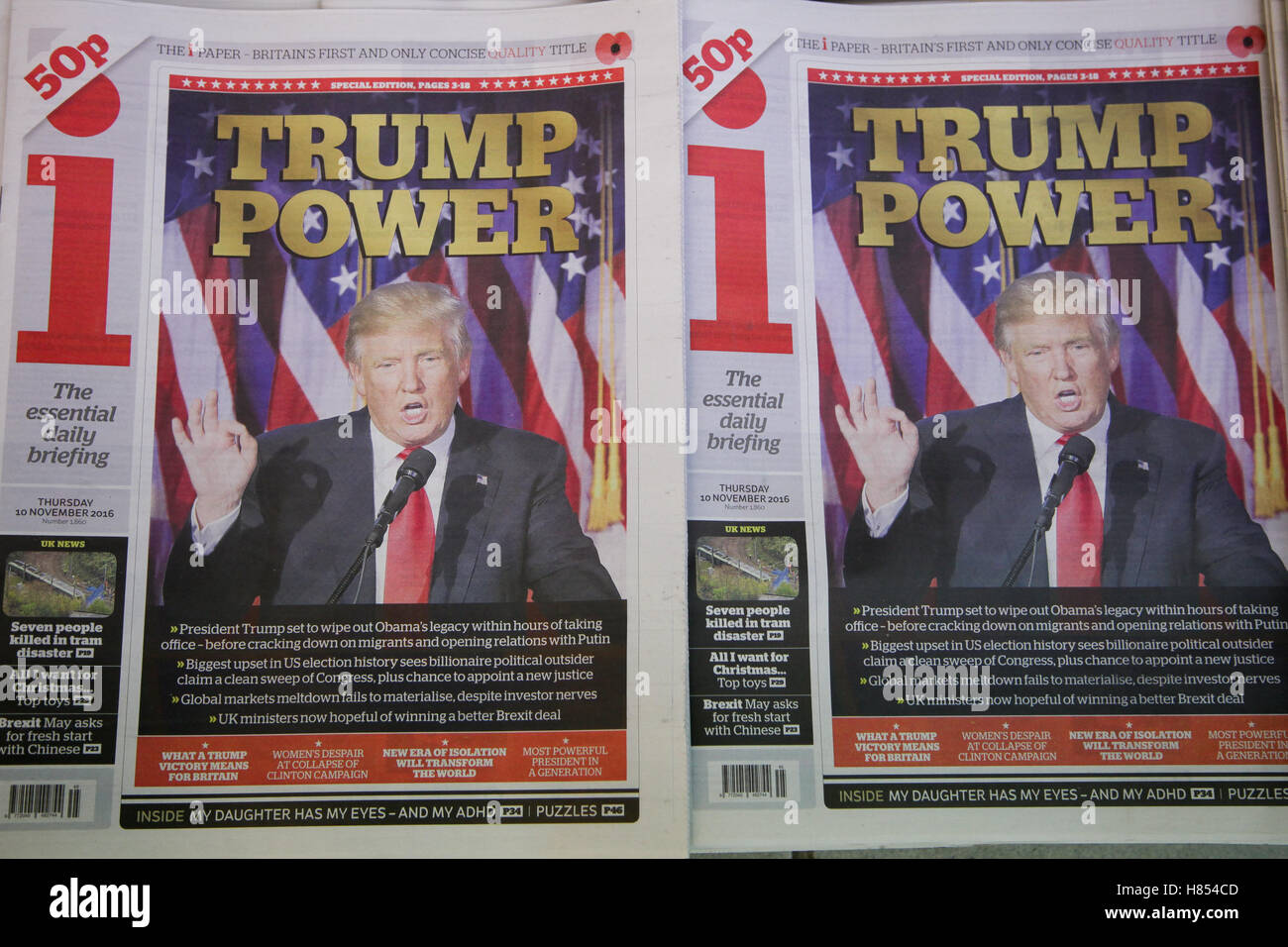 London, UK. 10th Nov, 2016. Front cover of i paper. British newspapers reaction to the US presidential election - Stock Image