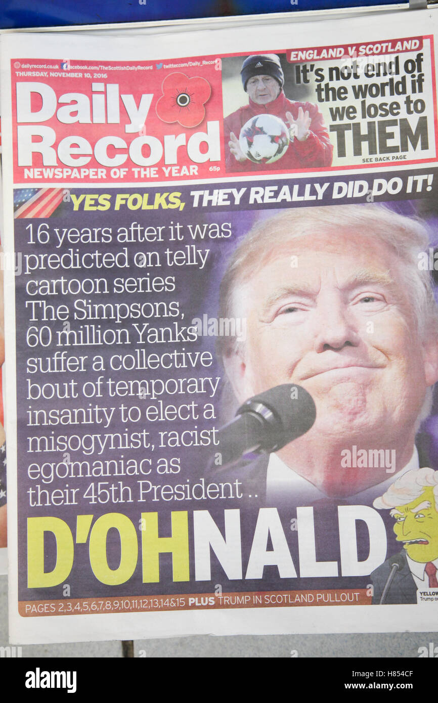 London, UK. 10th Nov, 2016. Front cover of Daily Record. British newspapers reaction to the US presidential election - Stock Image
