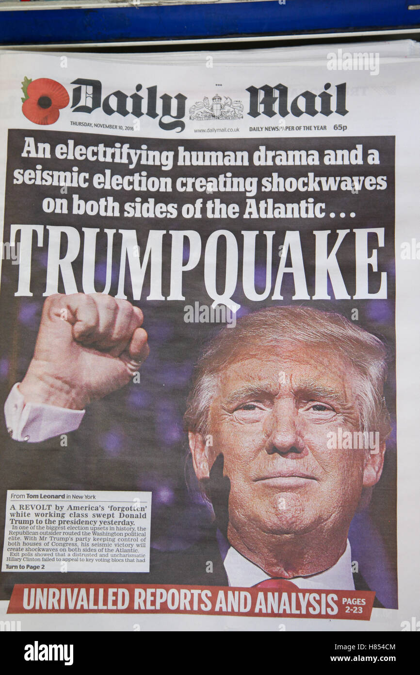 London, UK. 10th Nov, 2016. Front cover of Daily Mail. British newspapers reaction to the US presidential election - Stock Image