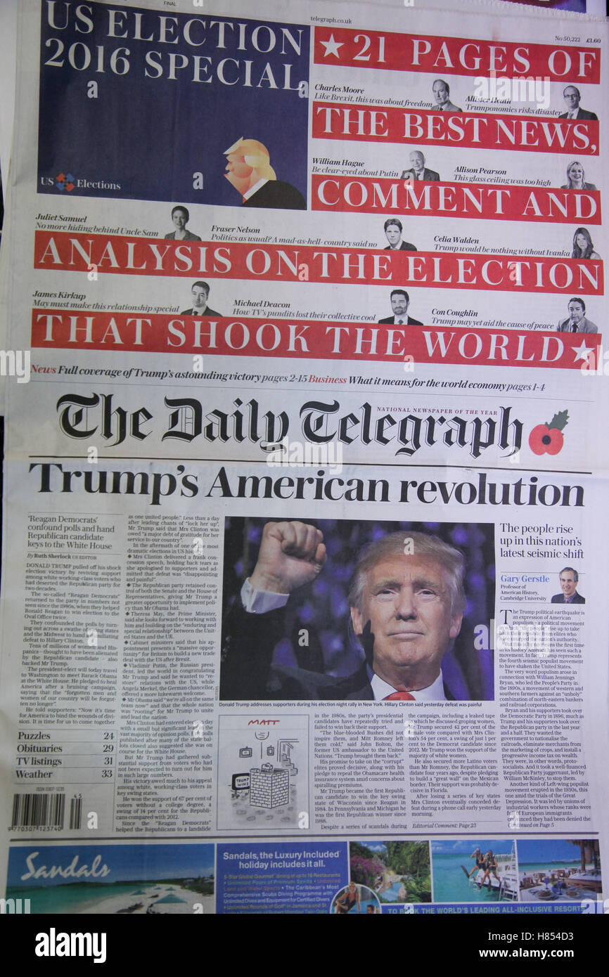 London, UK. 10th Nov, 2016. Front cover of Daily Telegraph. British newspapers reaction to the US presidential election - Stock Image