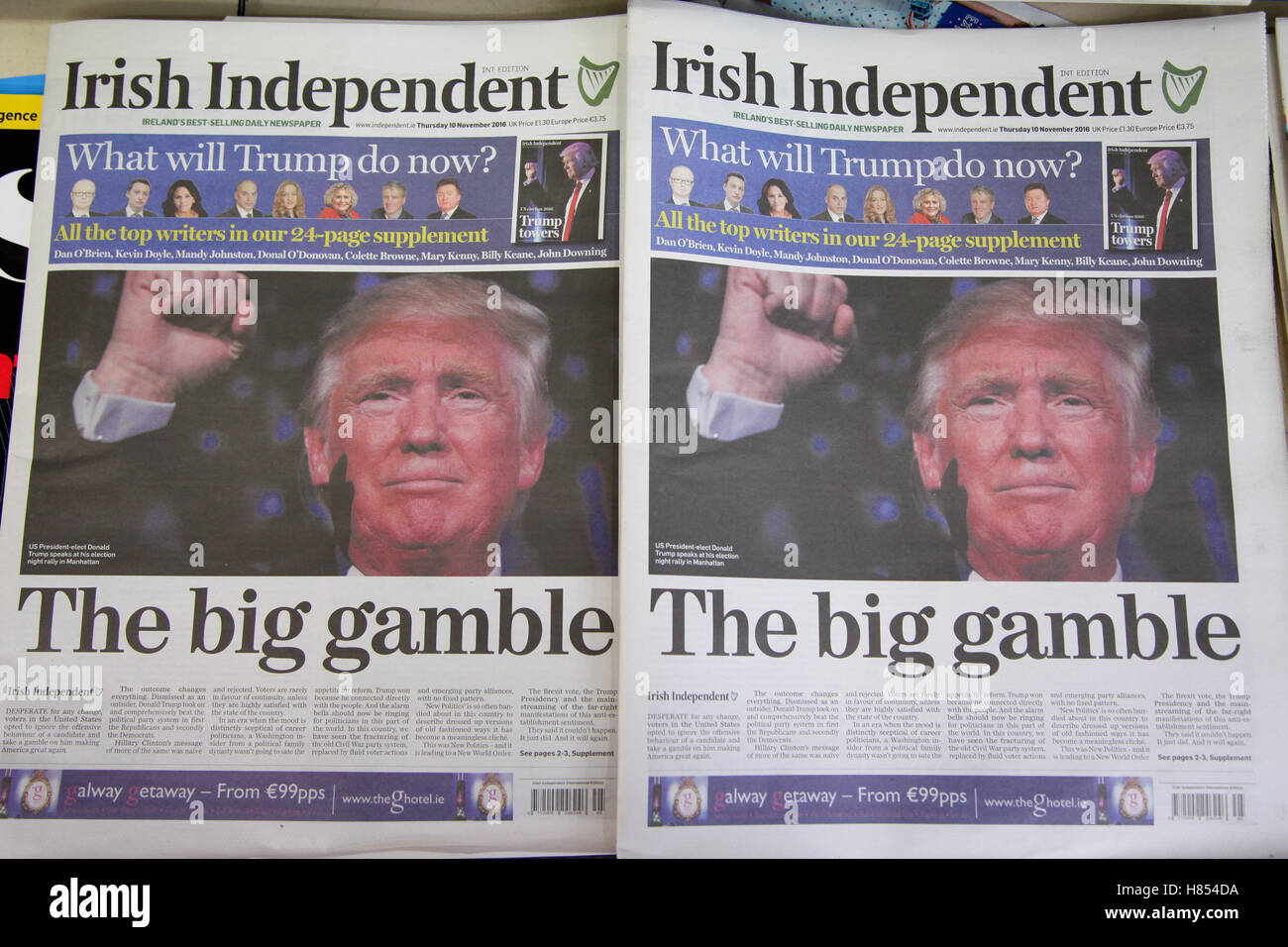 London, UK. 10th Nov, 2016. Front cover of Irish Independent. British newspapers reaction to the US presidential - Stock Image