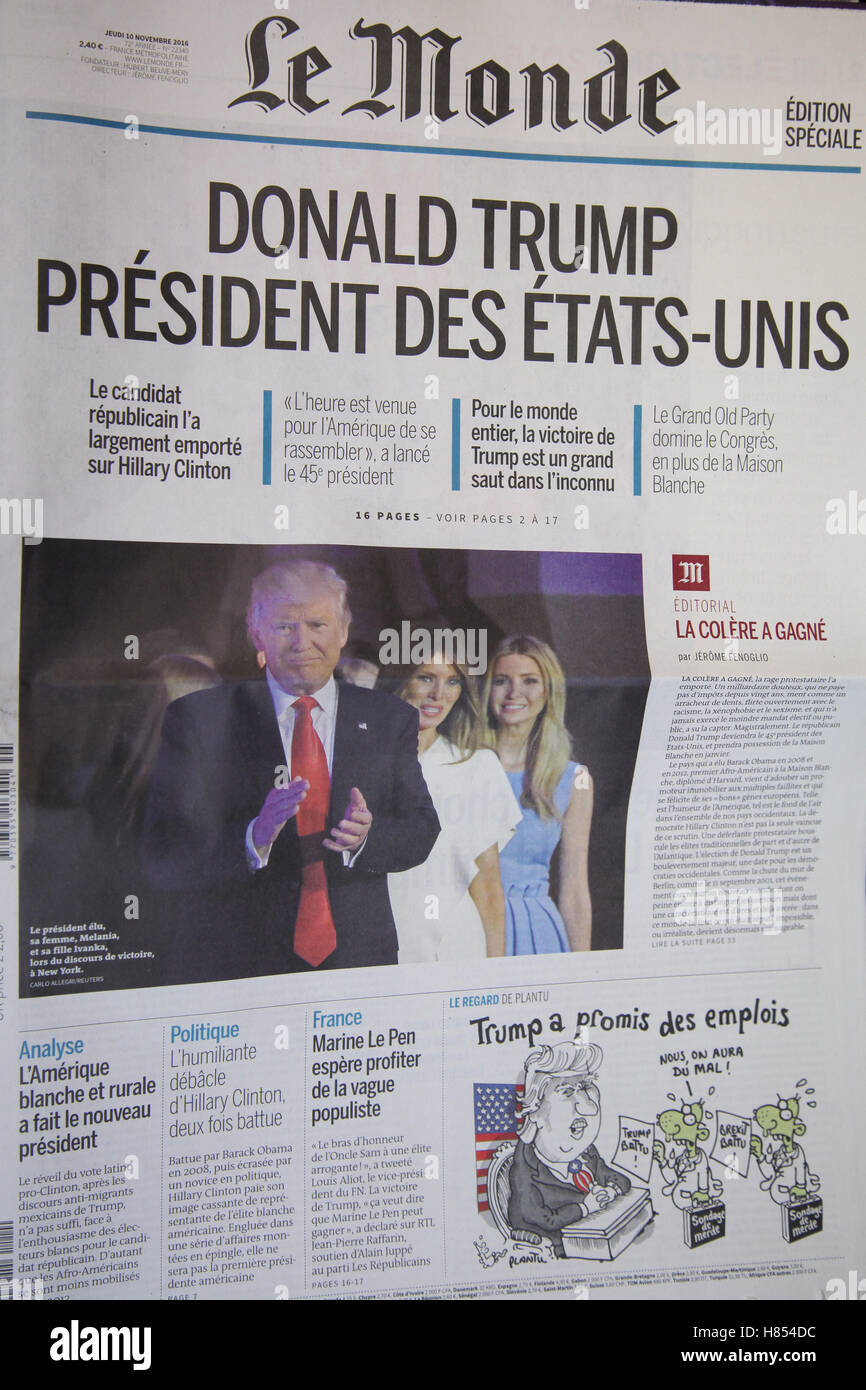 London, UK. 10th Nov, 2016. Front cover of Le Monde. International newspapers reaction to the US presidential election - Stock Image