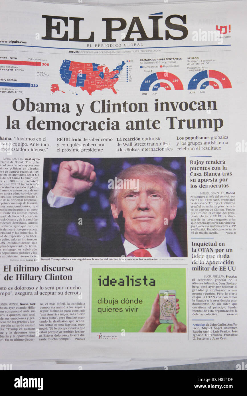 London, UK. 10th Nov, 2016. Front cover of El Pairs. International newspapers reaction to the US presidential election - Stock Image