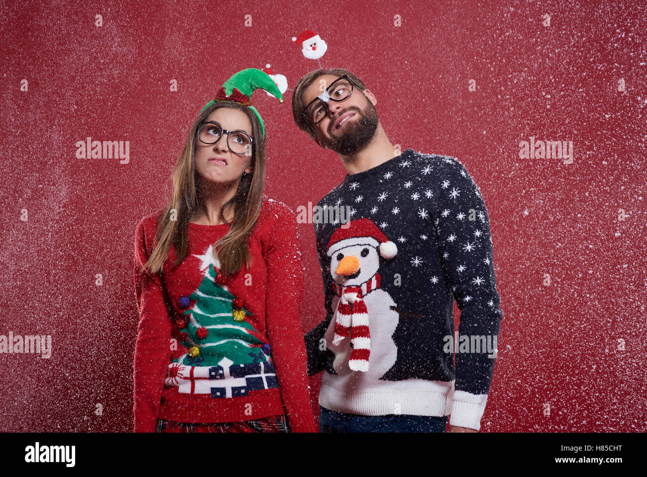 Dissatisfaction from snow in Christmas - Stock Image