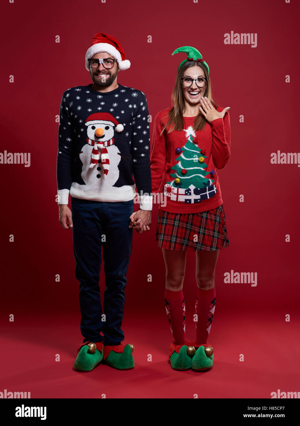 cute couple in christmas clothes