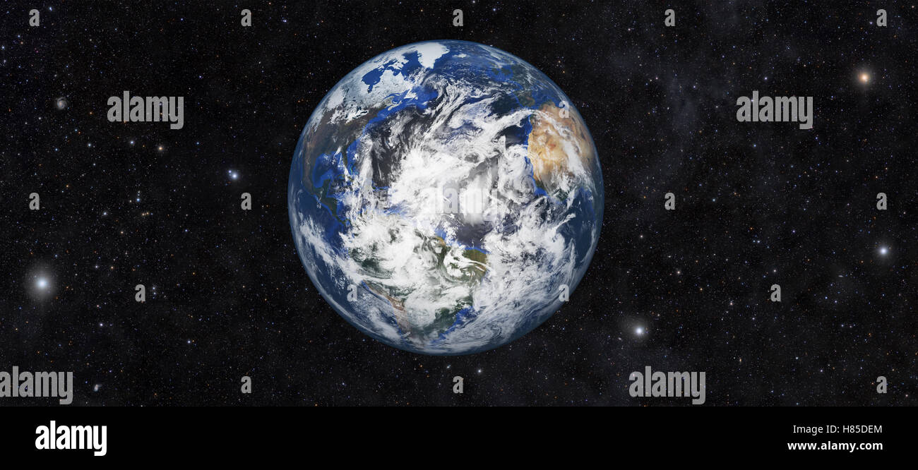 Planet earth with space background, 3d rendering - Stock Image
