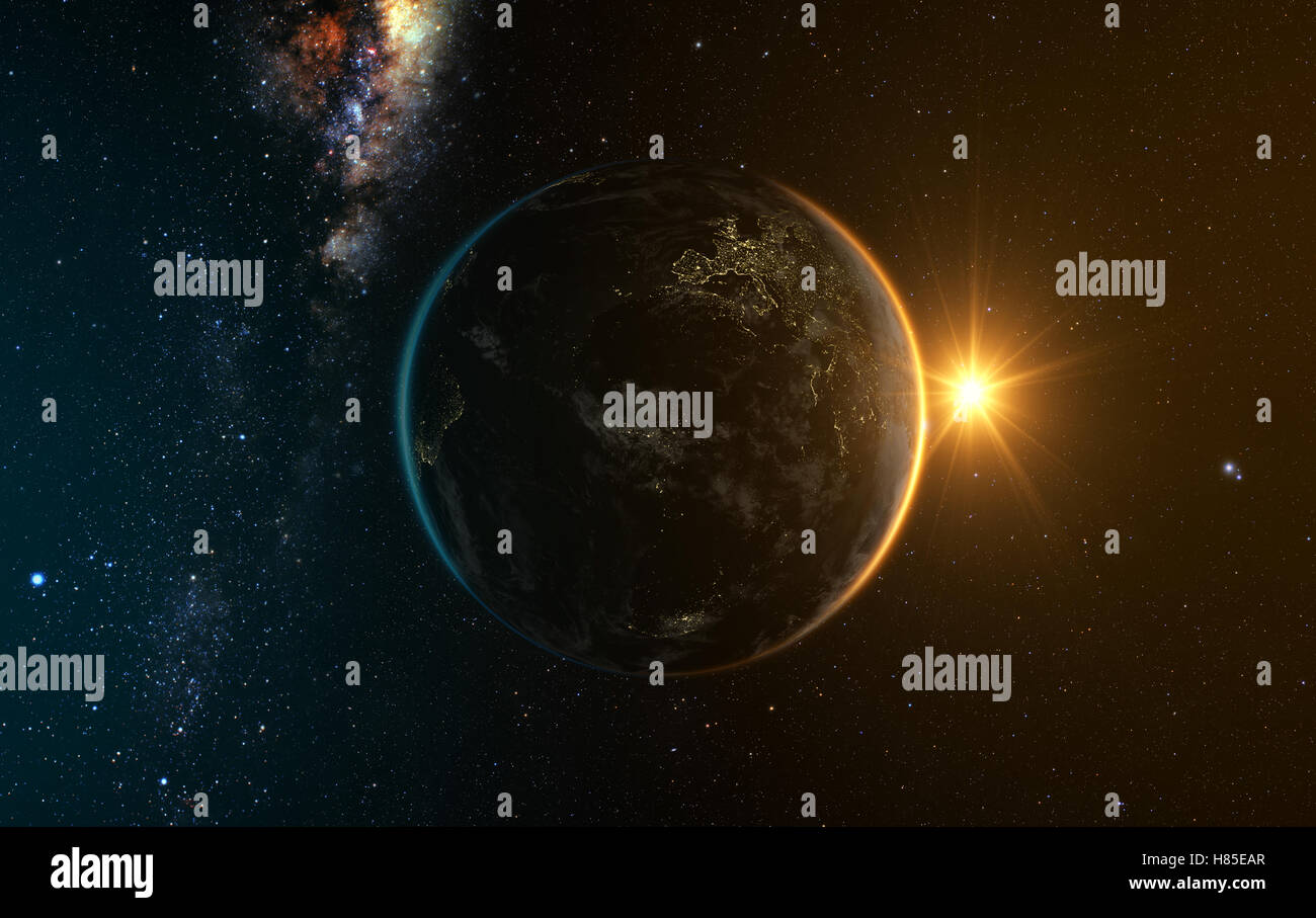 sunrise view of earth from space with milky way galaxy, 3d rendering - Stock Image