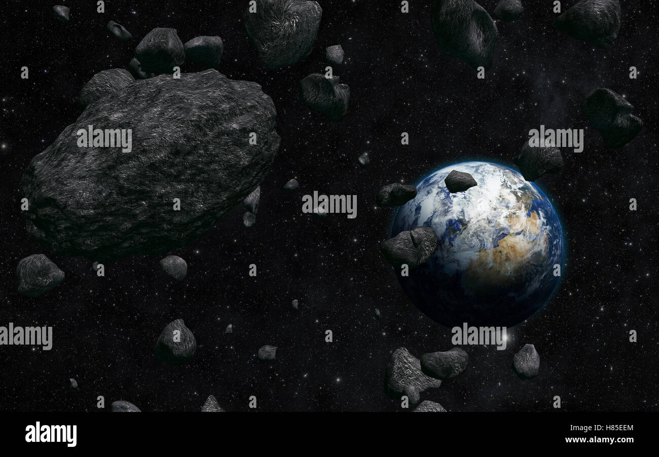 View of the planet Earth from space during meteorite impact - Stock Image