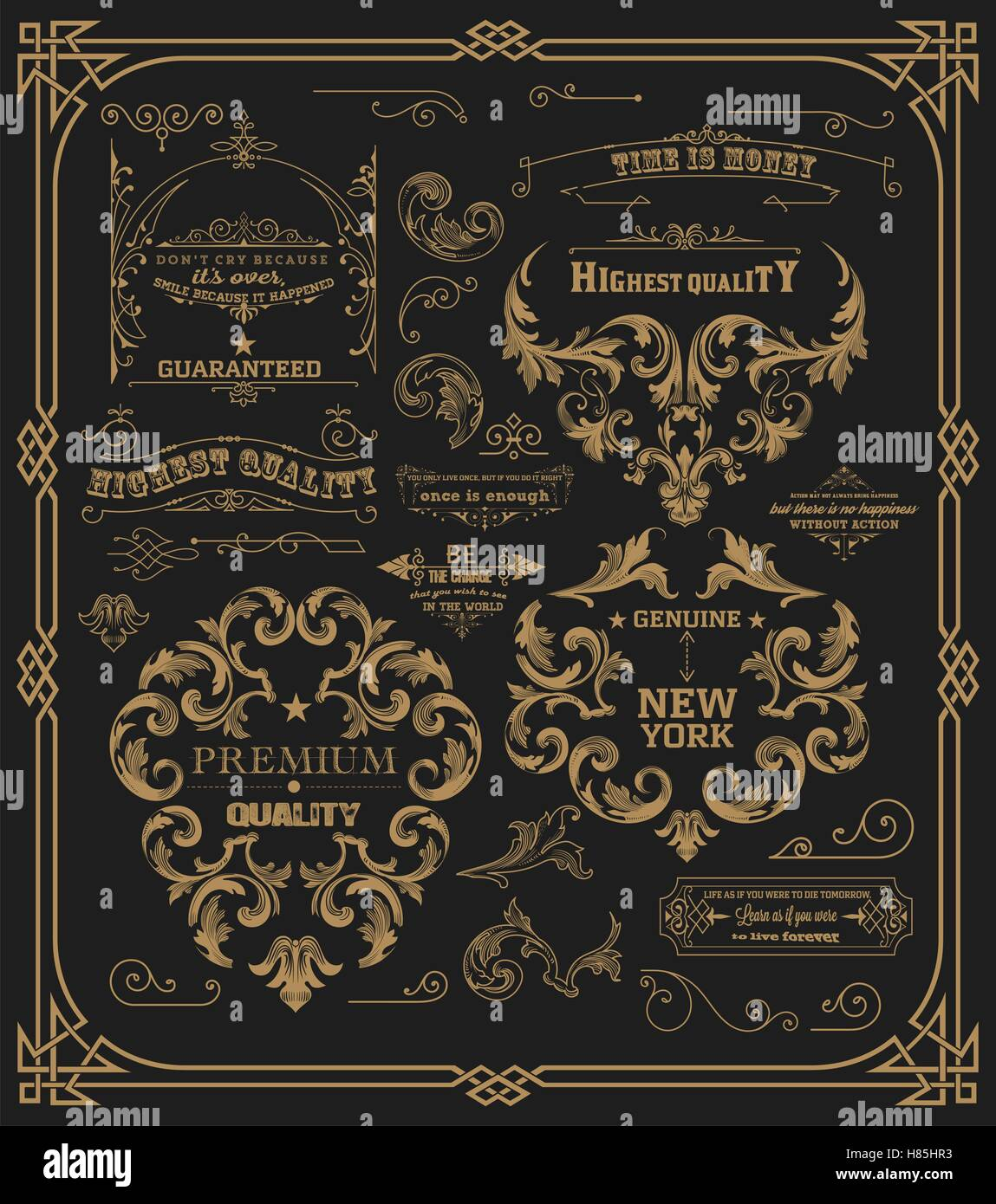 Pack of design elements: page decoration, Premium Quality and Satisfaction Guarantee Label, antique and baroque - Stock Vector