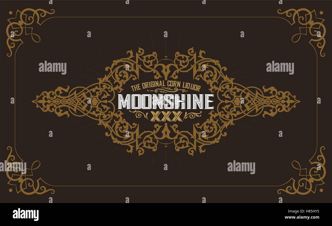 Moonshine label with old frame design - Stock Image