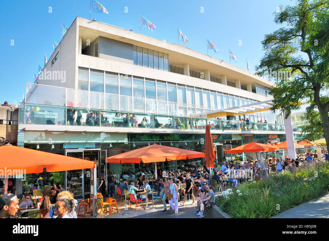 Cafes and restaurants outside the Royal Festival Hall, Southbank Centre, London, England, UK - Stock Image