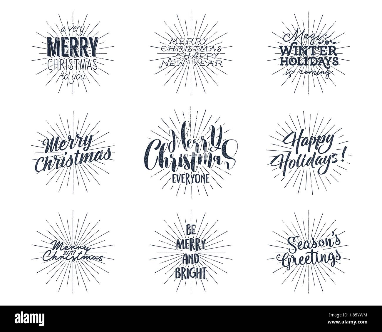 Set of Christmas , New Year 2017 lettering, wishes, sayings and ...