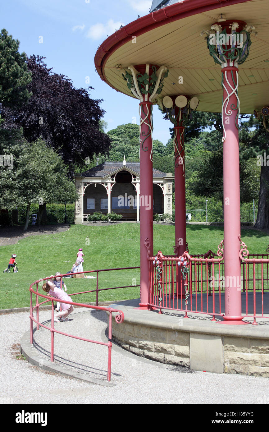Saltaire, Victorian bandstand, West Yorkshire - Stock Image