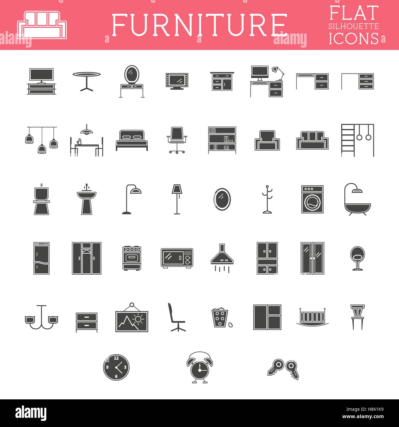 Set Of Silhouette Furniture Outline Icons Trendy Design Home Stock