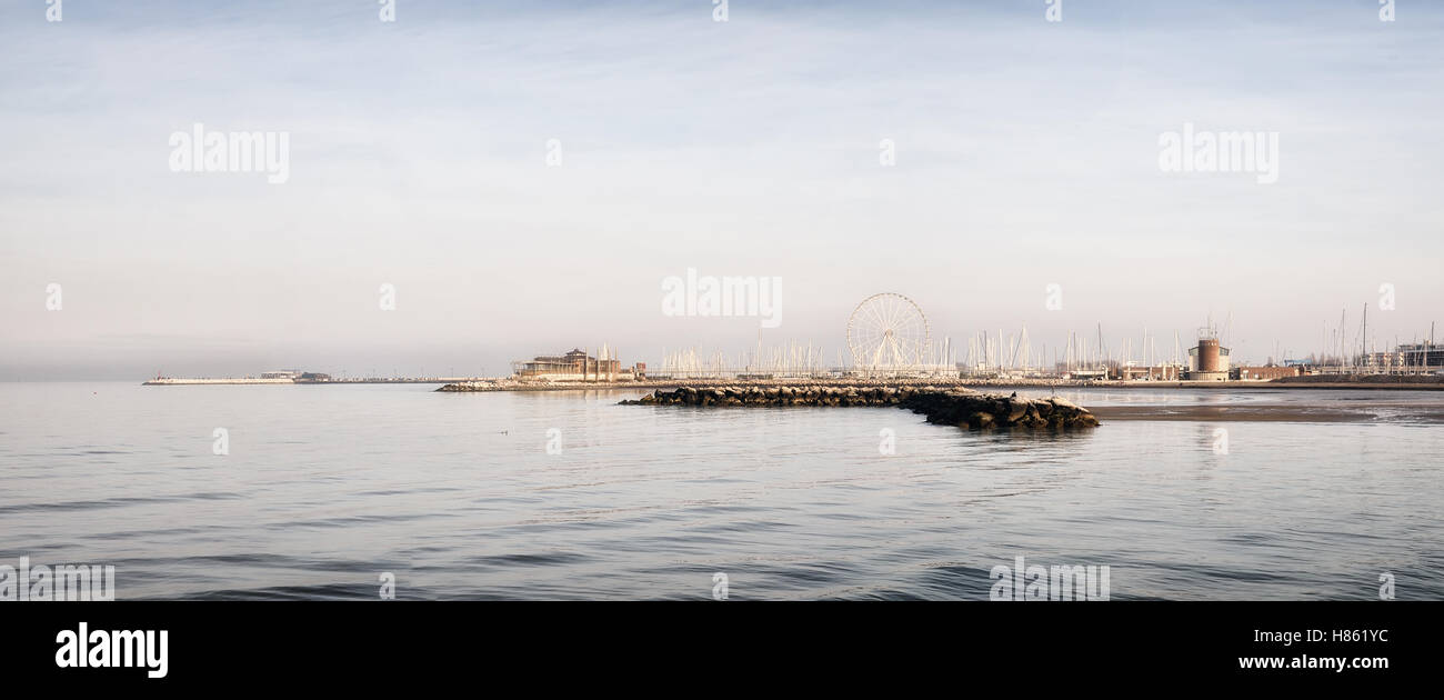 panorama of Rimini,Italy,at sunset in summer - Stock Image