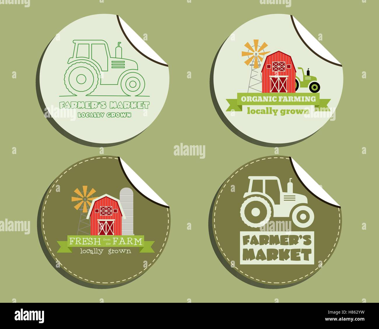 Set of unusual green organic labels stickers for natural shop farm products ecology theme eco design vector illustration