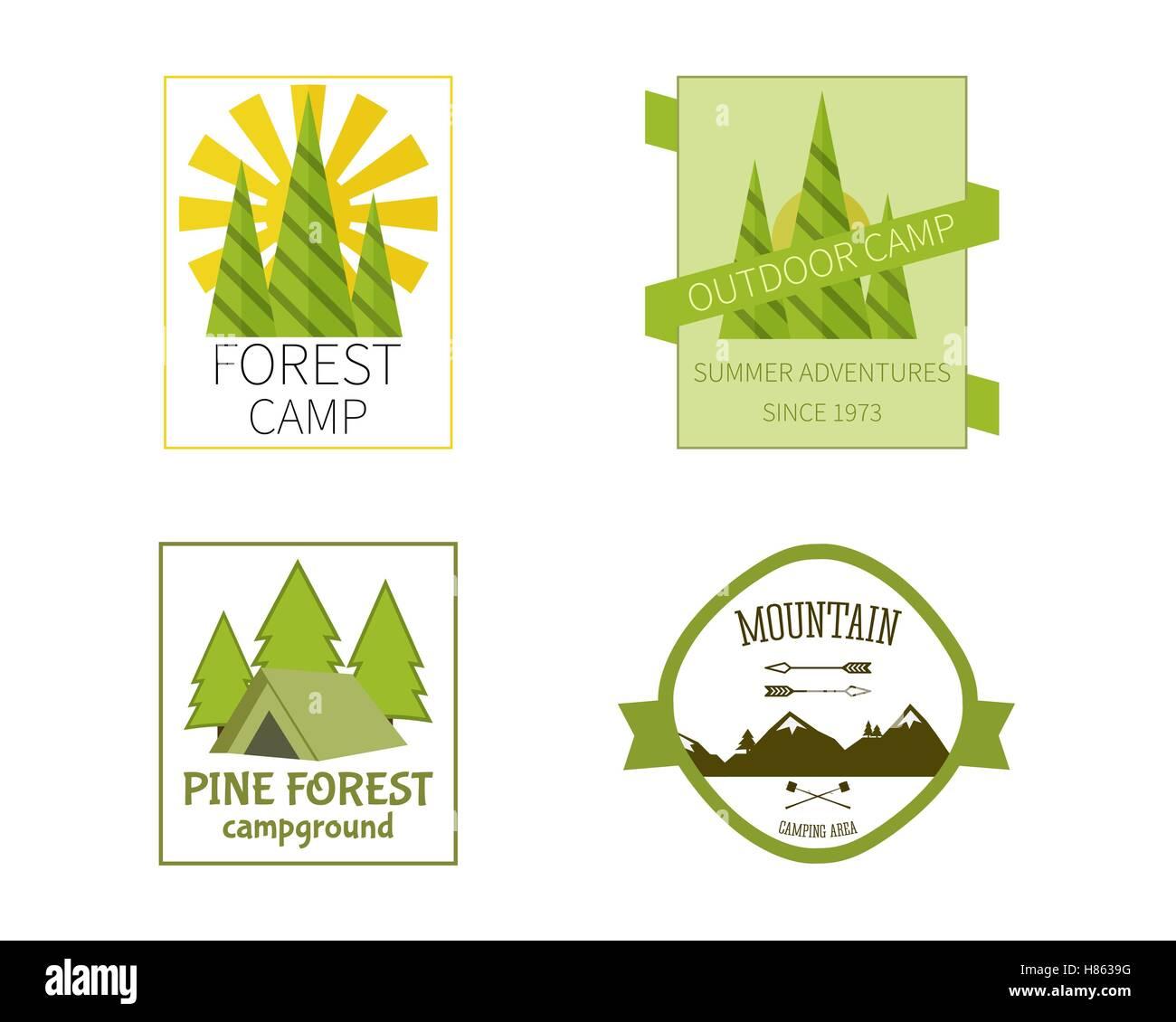 outdoor activity travel logo vintage labels design template forest