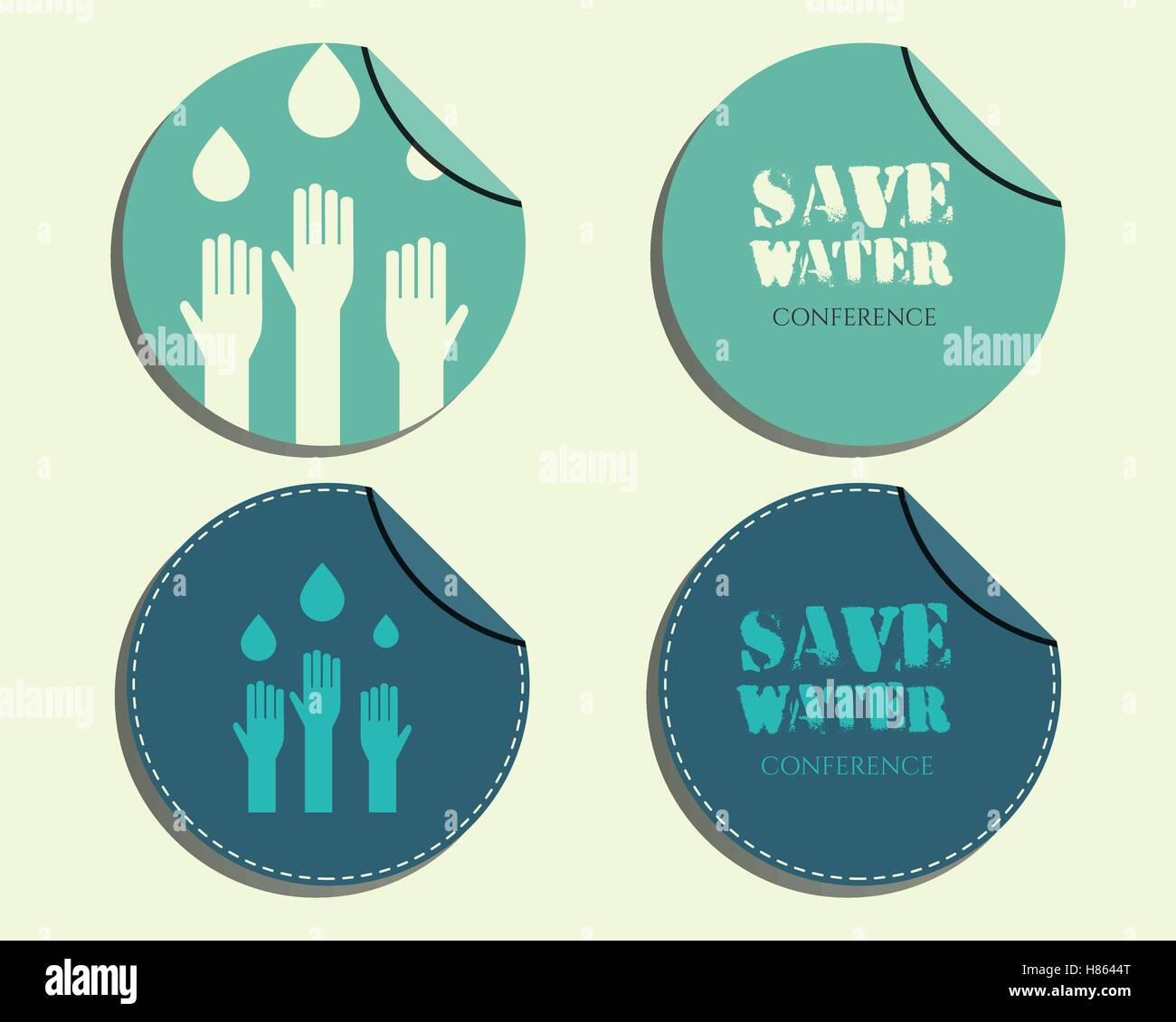 save water conference badges and labels invitation template with
