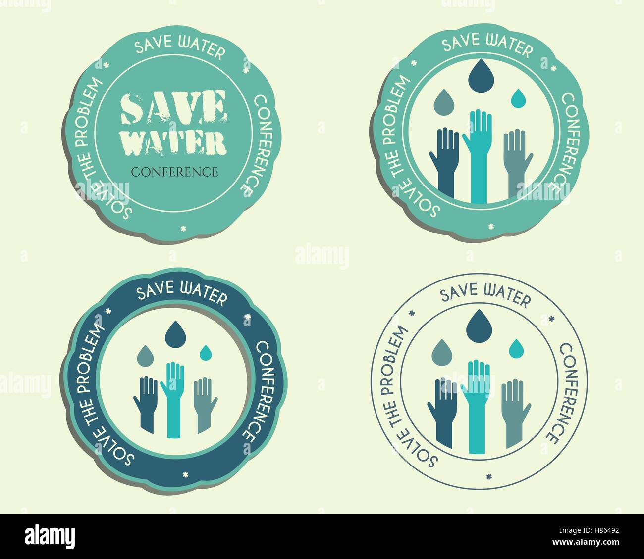 Save Water Conference Logo And Badge Templates With Drops And Hands - Conference badge template