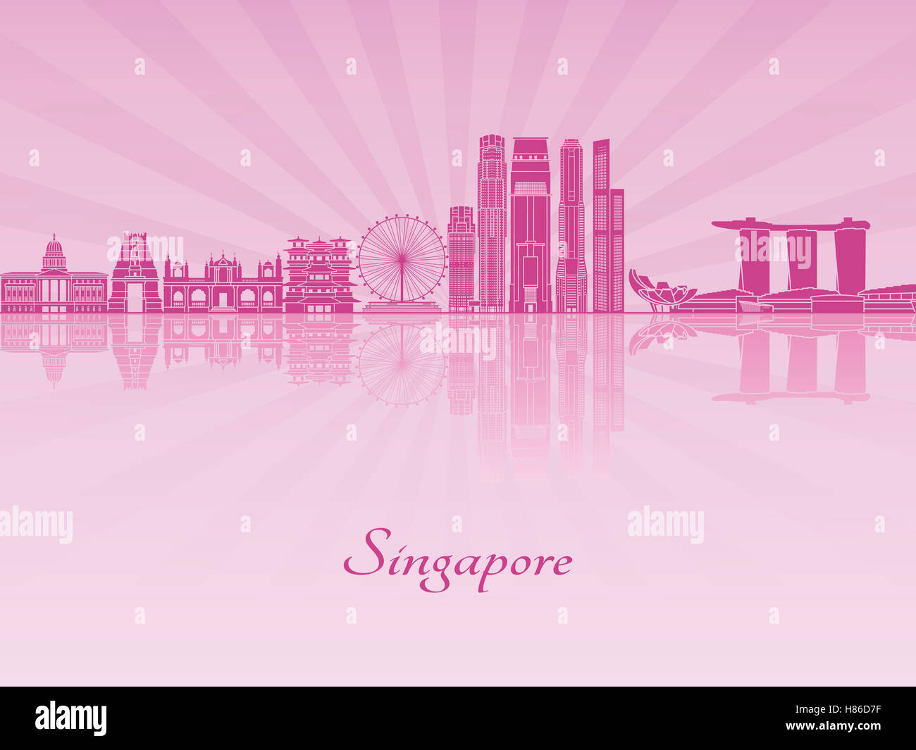 Singapore V2 skyline in purple radiant orchid in editable vector file - Stock Image