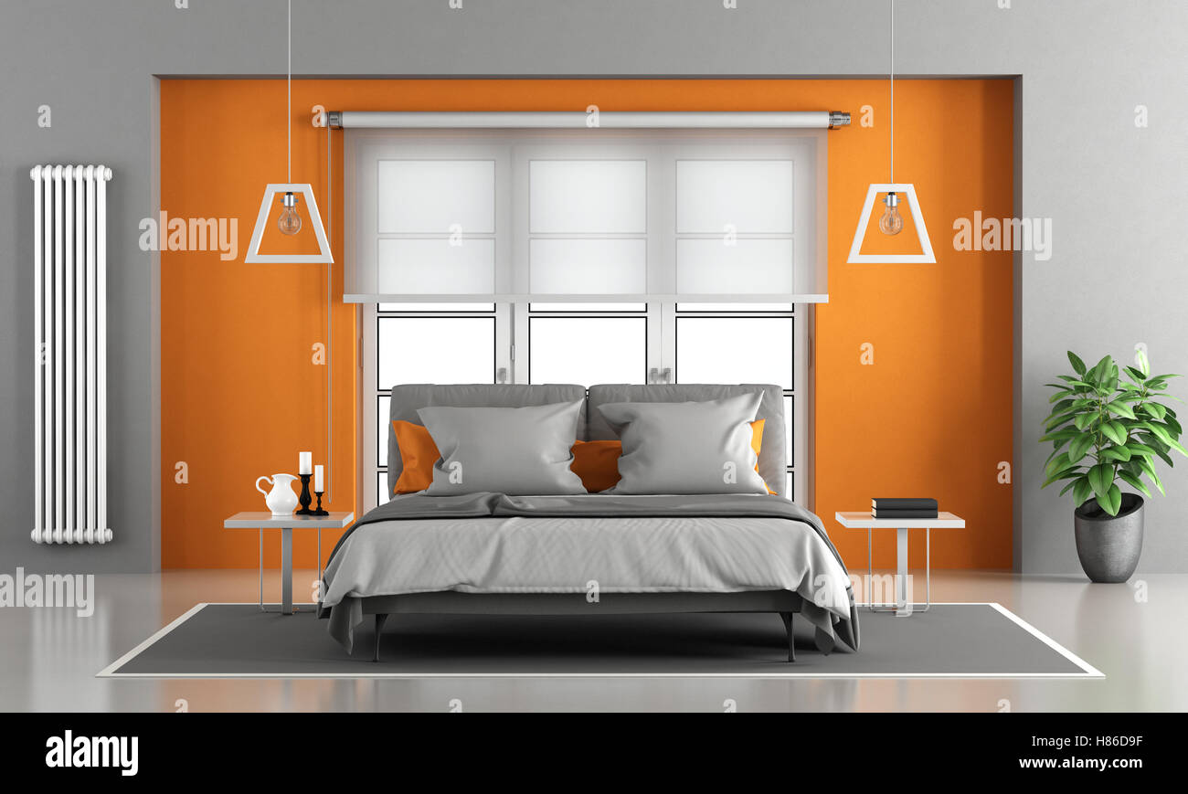Gray and orange master bedroom with window on background ...