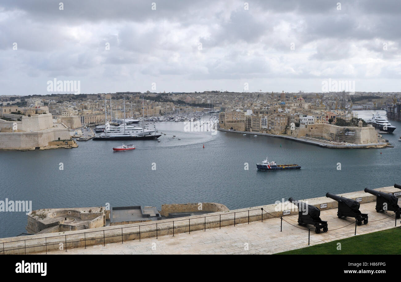 View of the Three Cities from Valletta, Malta Stock Photo