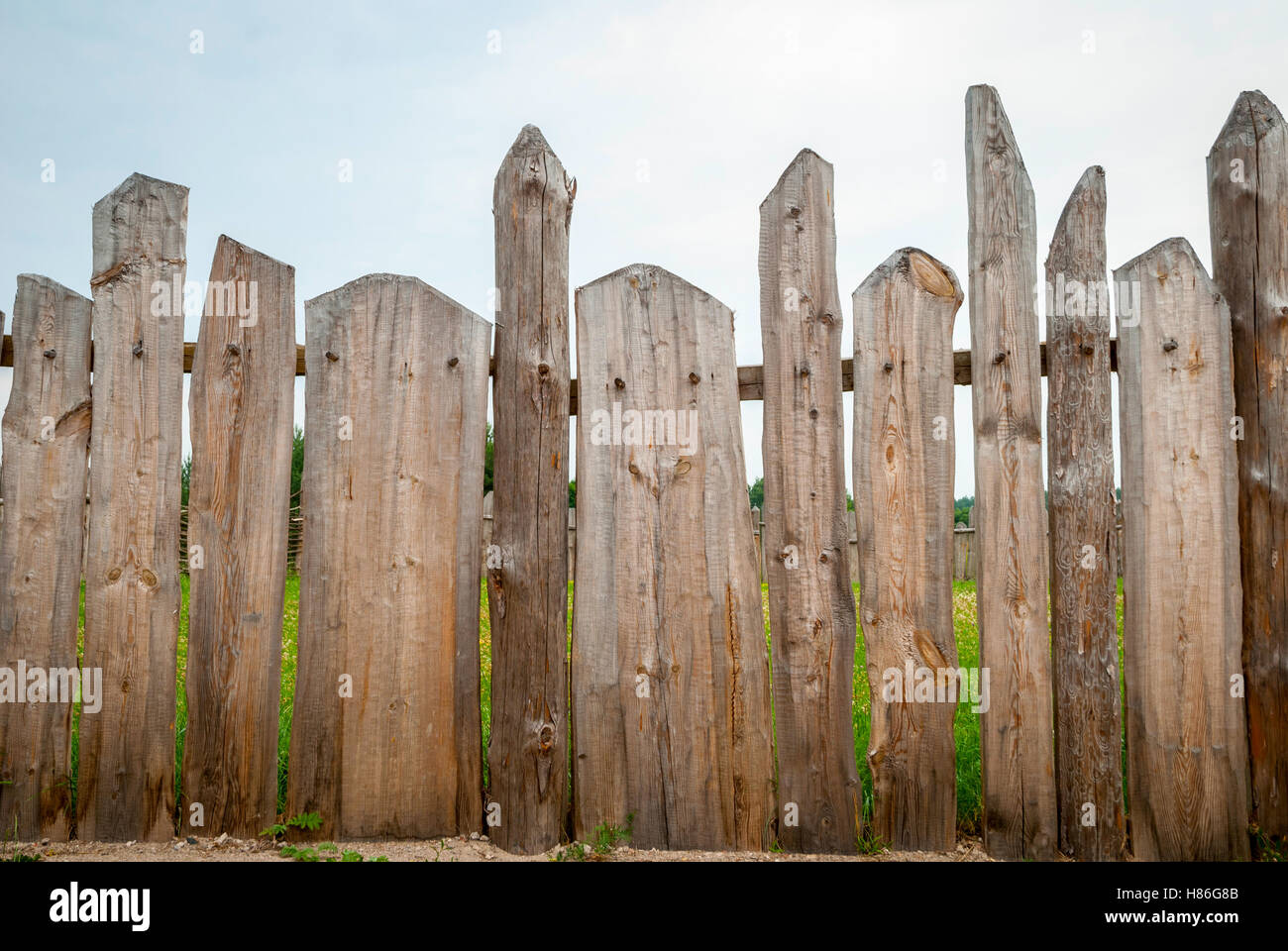 Wooden fence planks - Stock Image