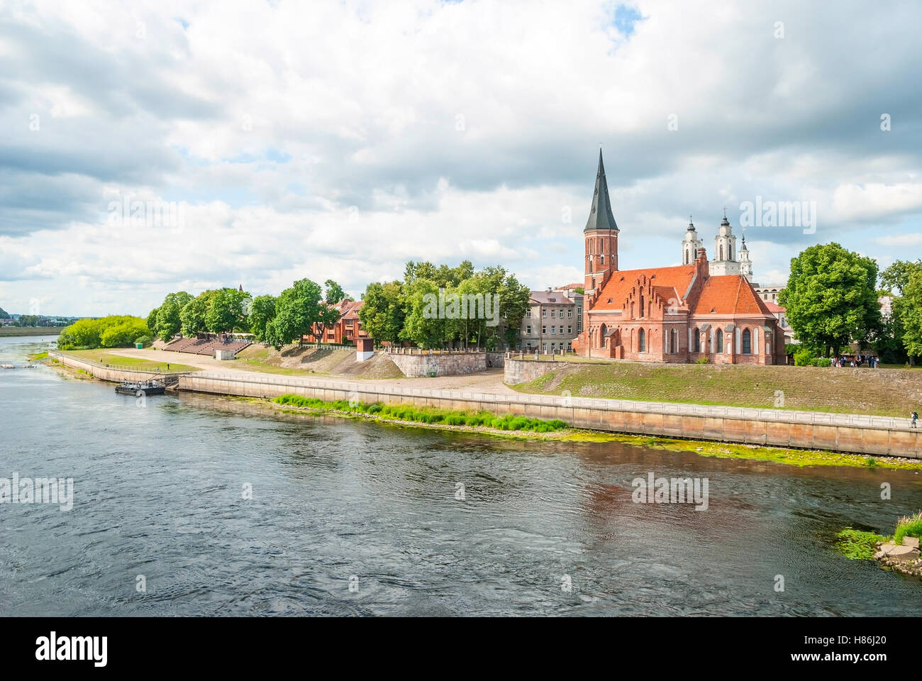 Old church in Kaunas by the Nemunas river, Lithuania - Stock Image
